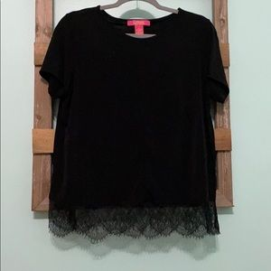 Black Shirt with Lace Detail on the Bottom